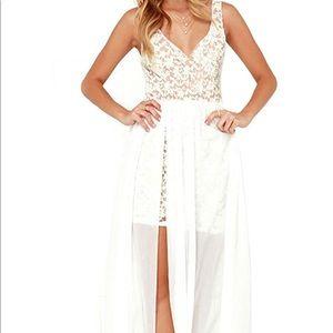 White Dress- V neck, Backless, Lace